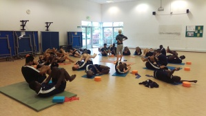 The football academy boys trying their hand at Yoga